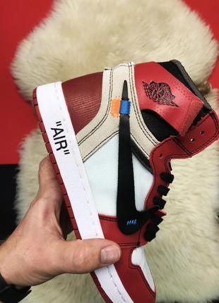Nike air jordan 1 red x off white, крутые осенние/весенние муж...
