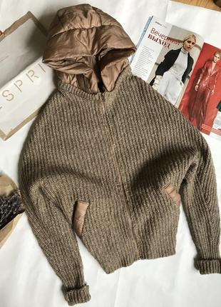 Нереальная кофта свитер кардиган с кашемиром с объемным рукавом.