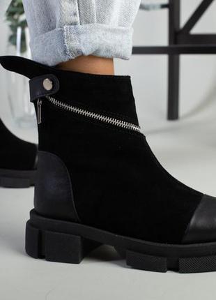 Черевики жіночі замшеві чорні з вставками шкіри зимові