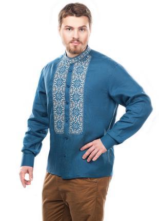 Вишиванка чоловіча Всеслав (льон синій)