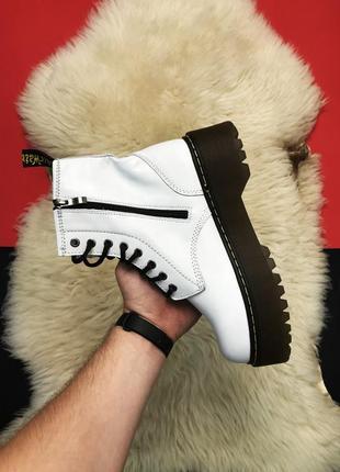 Dr. martens jadon white, женские демисезонные кожаные ботинки ...
