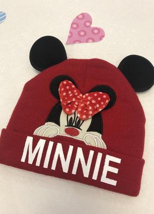"""Детская теплая шапка""""minni"""".для девочки"""