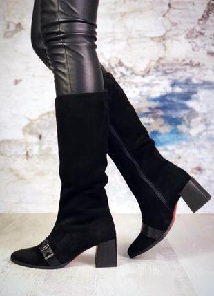 Эксклюзив! натуральная замша люксовые сапоги с острым носком н...
