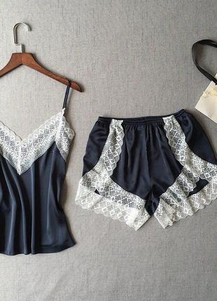 Атласная домашняя пижама, майка и шорты, размер m-l