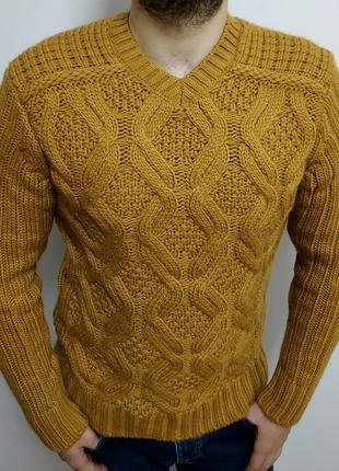 Мужской, мягкий, крупный рисунок, теплый свитер с шерстью