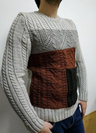Стильный, мужской, мягкий, классический, теплый свитер с шерстью
