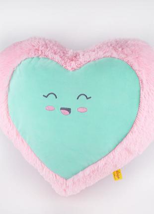 Мягкая игрушка Kidsqo Подушка сердце улыбка 43см розово-мятная