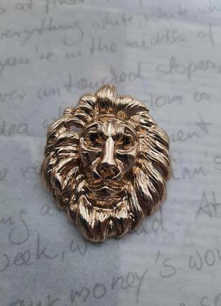 Американская винтажная брошь  в виде головы льва