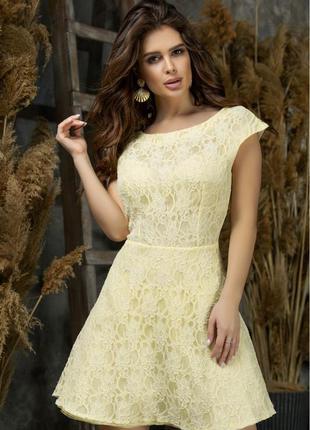 Красивое коктейльное платье желтого цвета