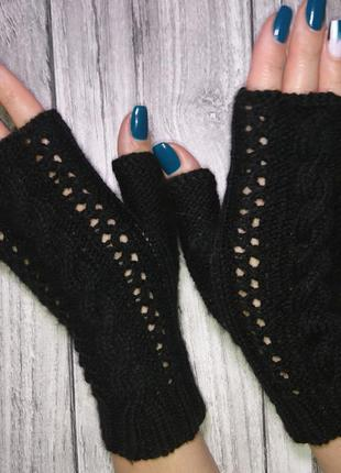 Перчатки без пальцев - митенки женские - черные митенки