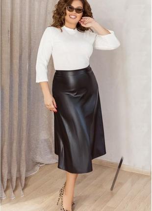 """Стильная женская юбка из эко-кожи больших размеров """"стрейс""""  (..."""