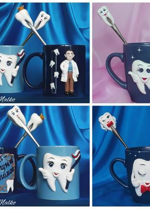 Чашки и ложки с декором из полимерной глины
