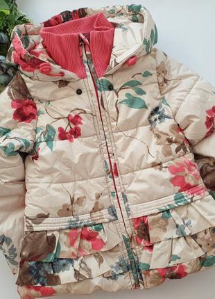 Зимняя теплая куртка gulliver в цветы ботанический сад