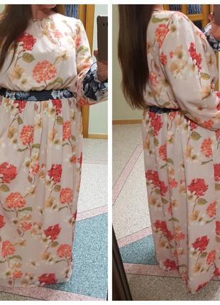 Шифоновое длинное платье большого размера refka, цветочный принт
