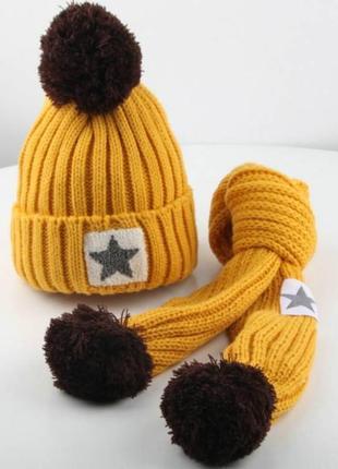 Шапка+шарф star желтая зима