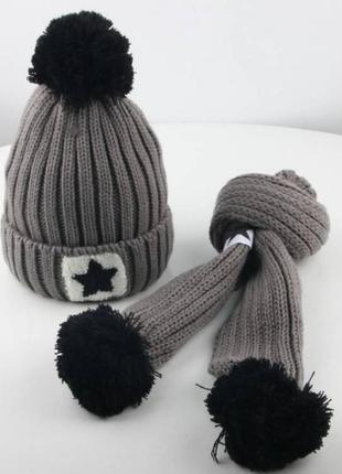 Шапка+шарф star серая зима