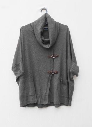 Осенний зимний свитер кардиган оверсайз пончо с коротким рукав...