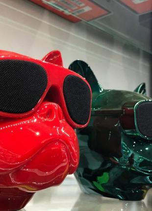 Аудио-колонка голова собаки в очках бульдог (Bluetooth) Портативн
