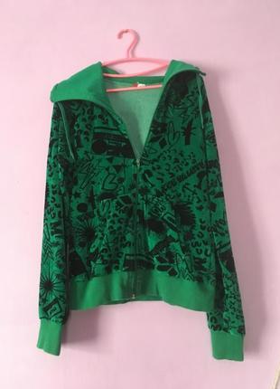 Свитер кофта на замочке интересная зеленого цвета