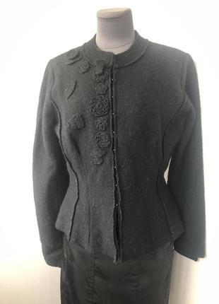 Шерстянной пиджак, валяная натуральная шерсть, жакет с апплика...
