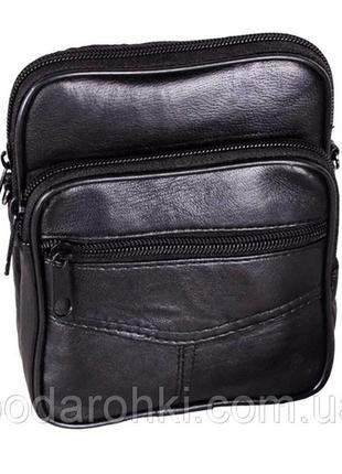 Кожаная мужская сумка 303702 черная барсетка через плечо на по...