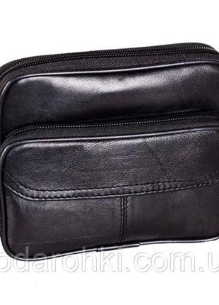 Кожаная мужская сумка 303709 черная барсетка через плечо на по...