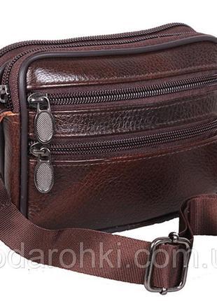 Кожаная мужская сумка bon 9947 барсетка через плечо на пояс ко...