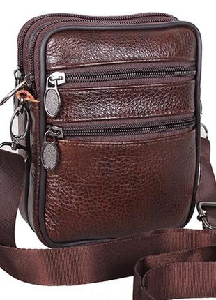 Кожаная мужская сумка через плечо коричневая барсетка на пояс ...