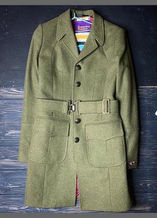 Шерстяное пальто по фигуре superdry xs-s