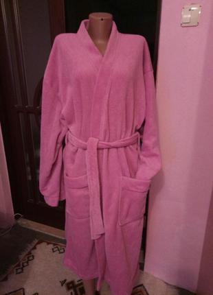 Розовый флисовый халат