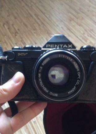 Pentax mv с объективом Pentax Asahi 50mm f2.0 + чехол и вспышка