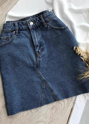 Джинсовая юбка трапеция с высокой талией от denim co
