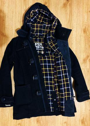 Темно синее шерстяное пальто Superdry Супердрай оригинал