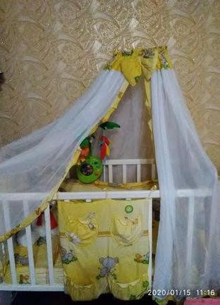 Детская кроватка Kitti +защита +постельный комплект+балдахин
