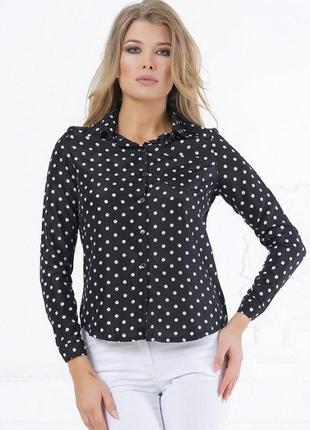 Черная женская рубашка в белый горох