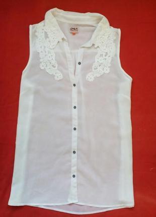 Шифоновая белая блузка без рукавов