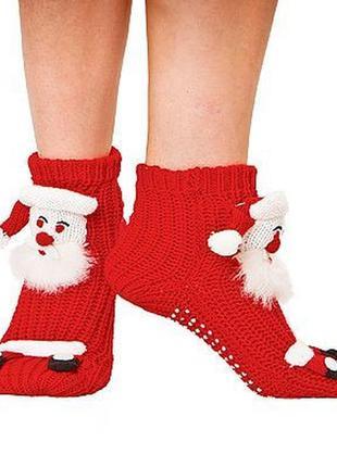 Классные красные теплые ноки с дедом морозом!