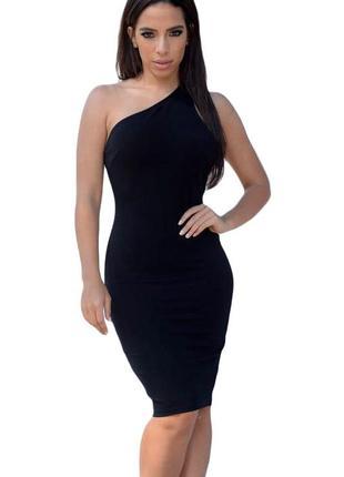 Черное,платье на одно плечо.