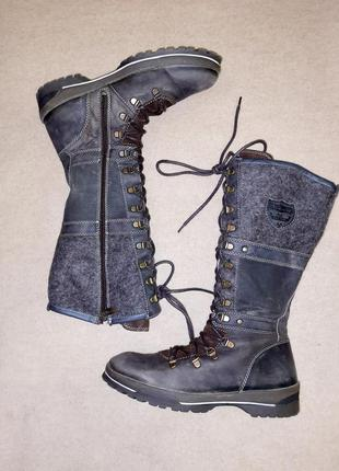 Теплые зимние сапоги на шнуровке