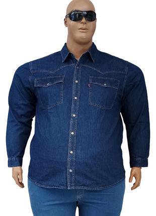 Джинсовая мужская рубашка большого размера с длинными рукавами.
