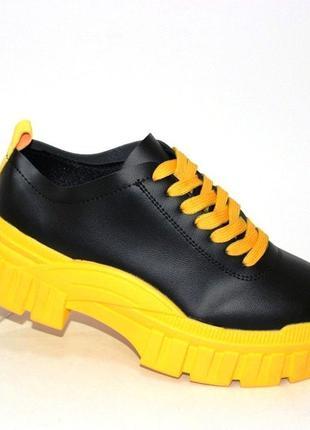 Модные женские туфли на толстой тракторной подошве