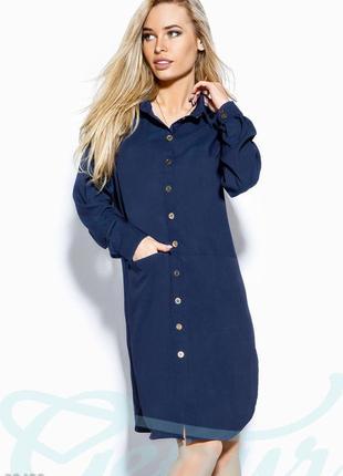 Платье рубашка цвета графитово-синий