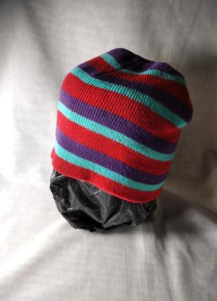 Шапка шапочка бини в полоску двойная вязка унисекс. германия.