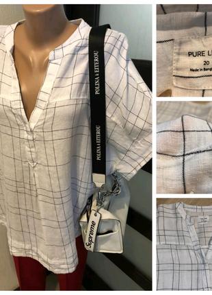 100% лён белая свободная рубашка кофточка блузка