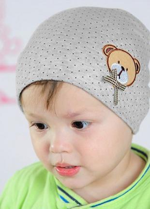 Шапка детская для ребенка, серый цвет