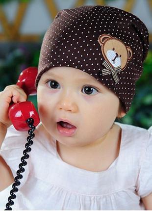 Шапка для ребенка, малыша, коричневый цвет с медвежонком