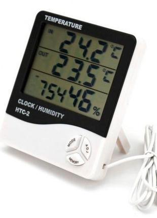 Термометр-гигрометр HTC-2 с часами и выносным датчиком темпера...