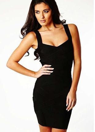 Черное платье бандажное с эфектом утяжки