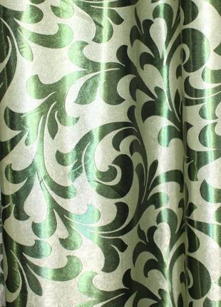 Шторы блэкаут с орнаментом. Цвет - зеленый.