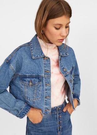Синяя укороченная джинсовая куртка оверсайз бойфренд • джинсовка